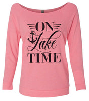 On Lake Time 3/4 Sleeve Raw Edge French Terry Cut - Dolman Style Very Trendy Funny Shirt Small / Pink