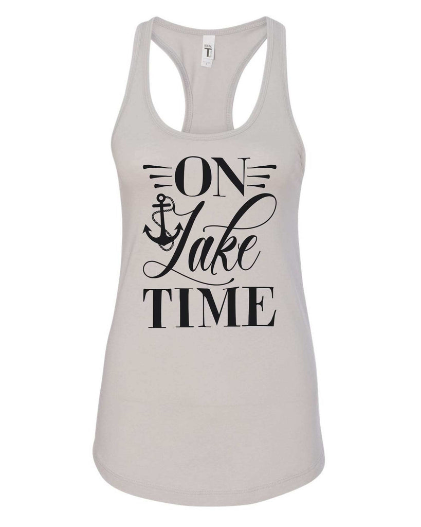 Womens On Lake Time Grapahic Design Fitted Tank Top Funny Shirt Small / Silver
