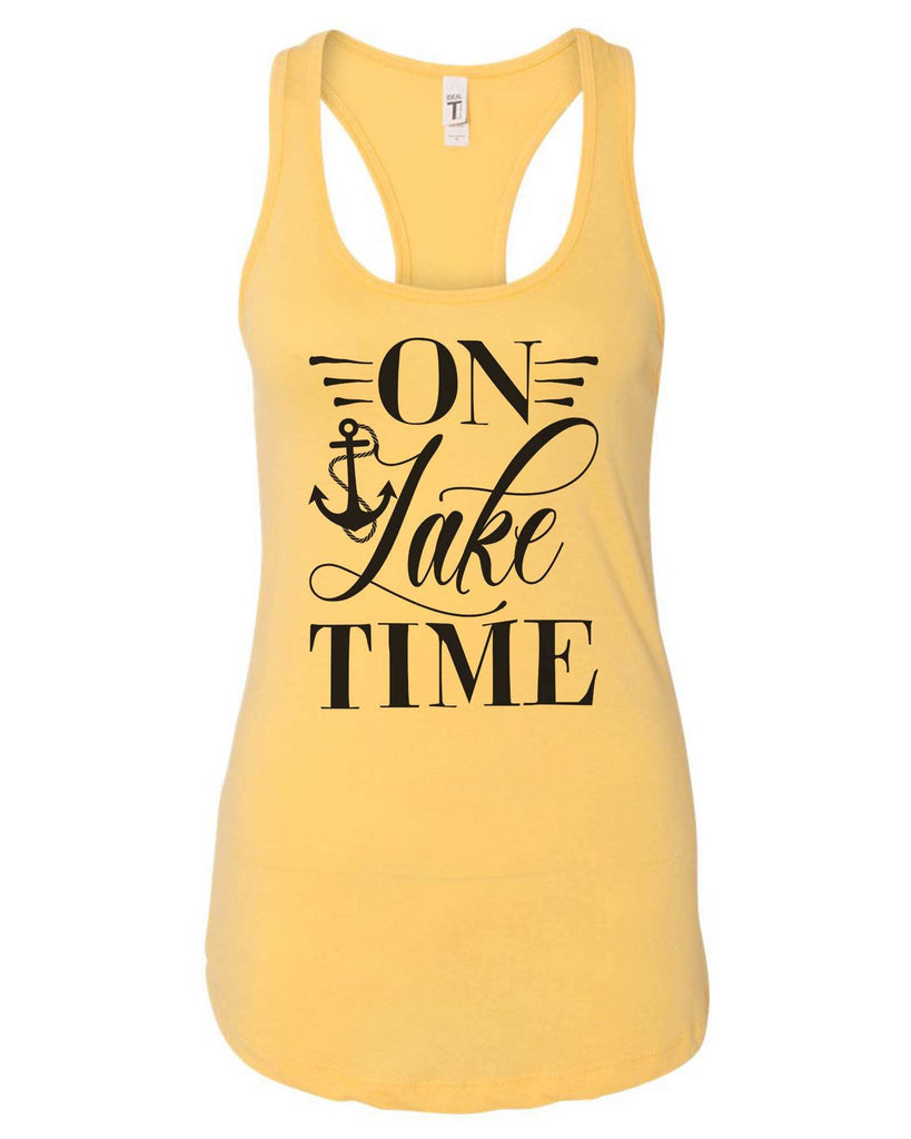 Womens On Lake Time Grapahic Design Fitted Tank Top Funny Shirt Small / Yellow