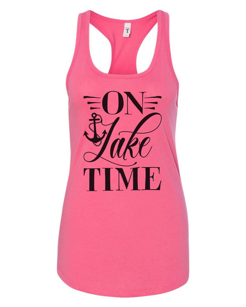 Womens On Lake Time Grapahic Design Fitted Tank Top Funny Shirt Small / Fuchsia