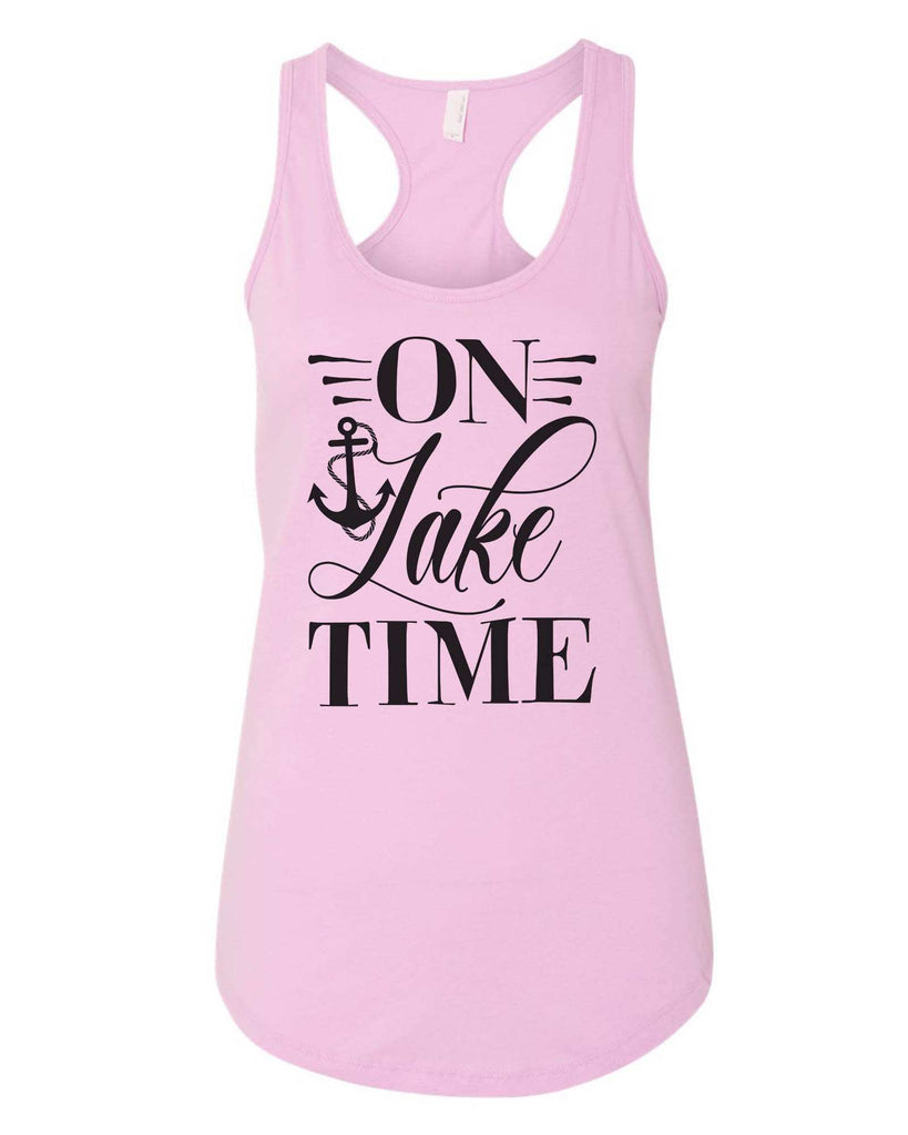 Womens On Lake Time Grapahic Design Fitted Tank Top Funny Shirt Small / Lilac