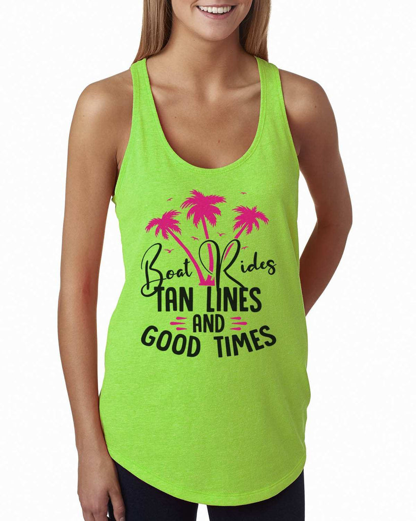 Boat Rides Tan Lines And Good Times Womens Workout Tank Top Funny Shirt