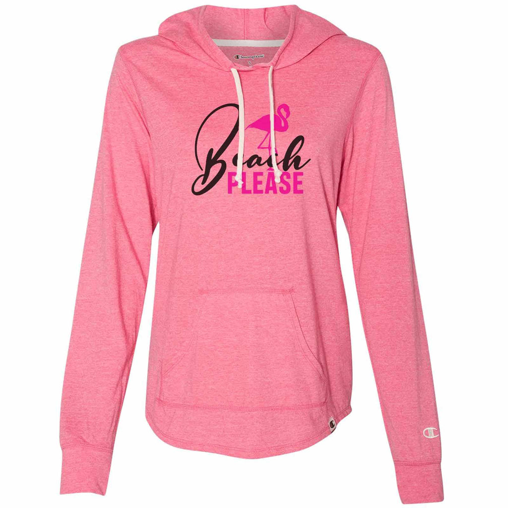 Beach Please - Womens Champion Brand Hoodie - Hooded Sweatshirt Funny Shirt Small / Pink