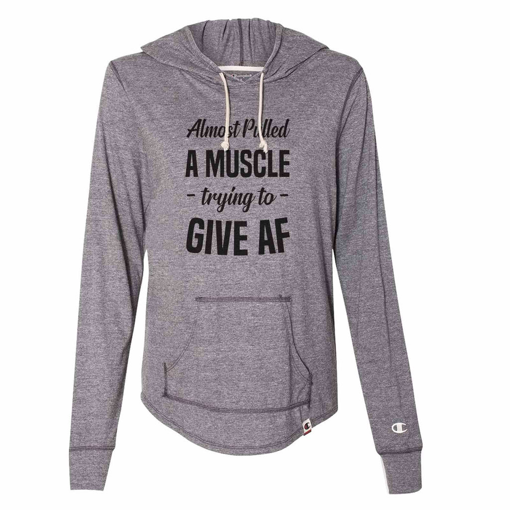 Almost Pulled A Muscle - Trying To - Give Af - Womens Champion Brand Hoodie - Hooded Sweatshirt Funny Shirt Small / Dark Grey
