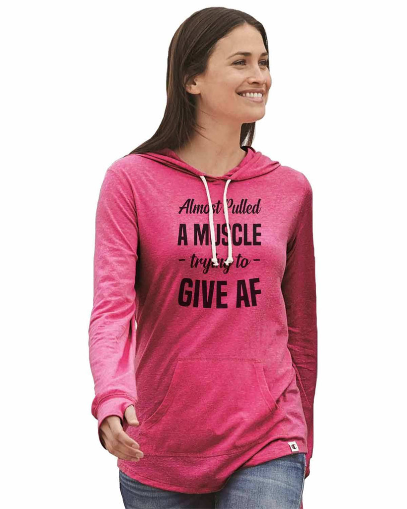 Almost Pulled A Muscle - Trying To - Give Af - Womens Champion Brand Hoodie - Hooded Sweatshirt Funny Shirt