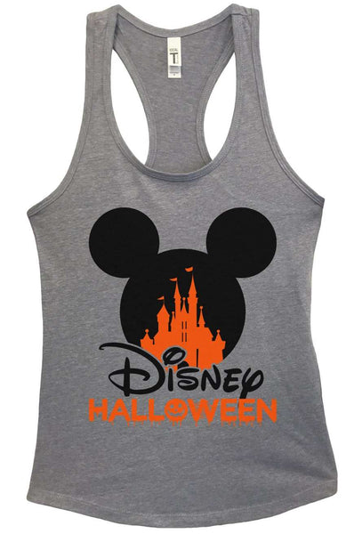 Disney Halloween Grapahic Design Fitted Tank Top Funny Shirt Small / Heather Grey