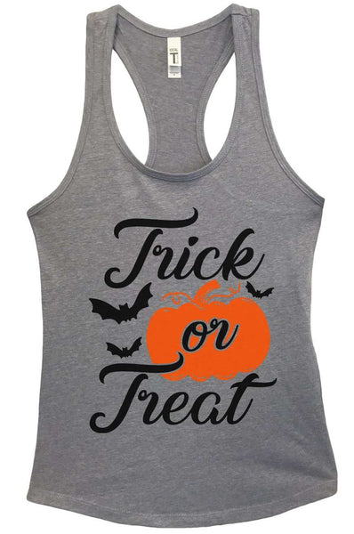 Trick or Treat Grapahic Design Fitted Tank Top Funny Shirt Small / Heather Grey