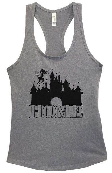 Disney is My Home Grapahic Design Fitted Tank Top Funny Shirt Small / Heather Grey