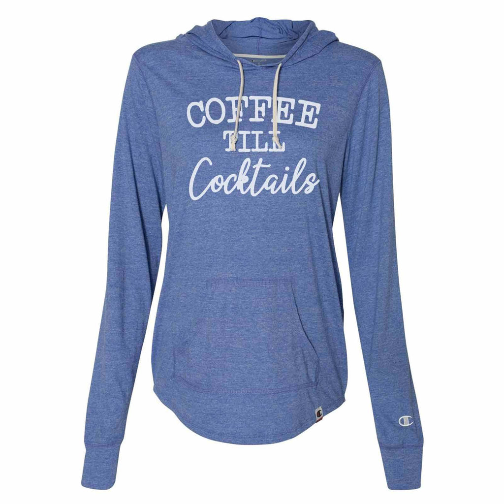 Coffee Till Cocktails - Womens Champion Brand Hoodie - Hooded Sweatshirt Funny Shirt Small / Blue