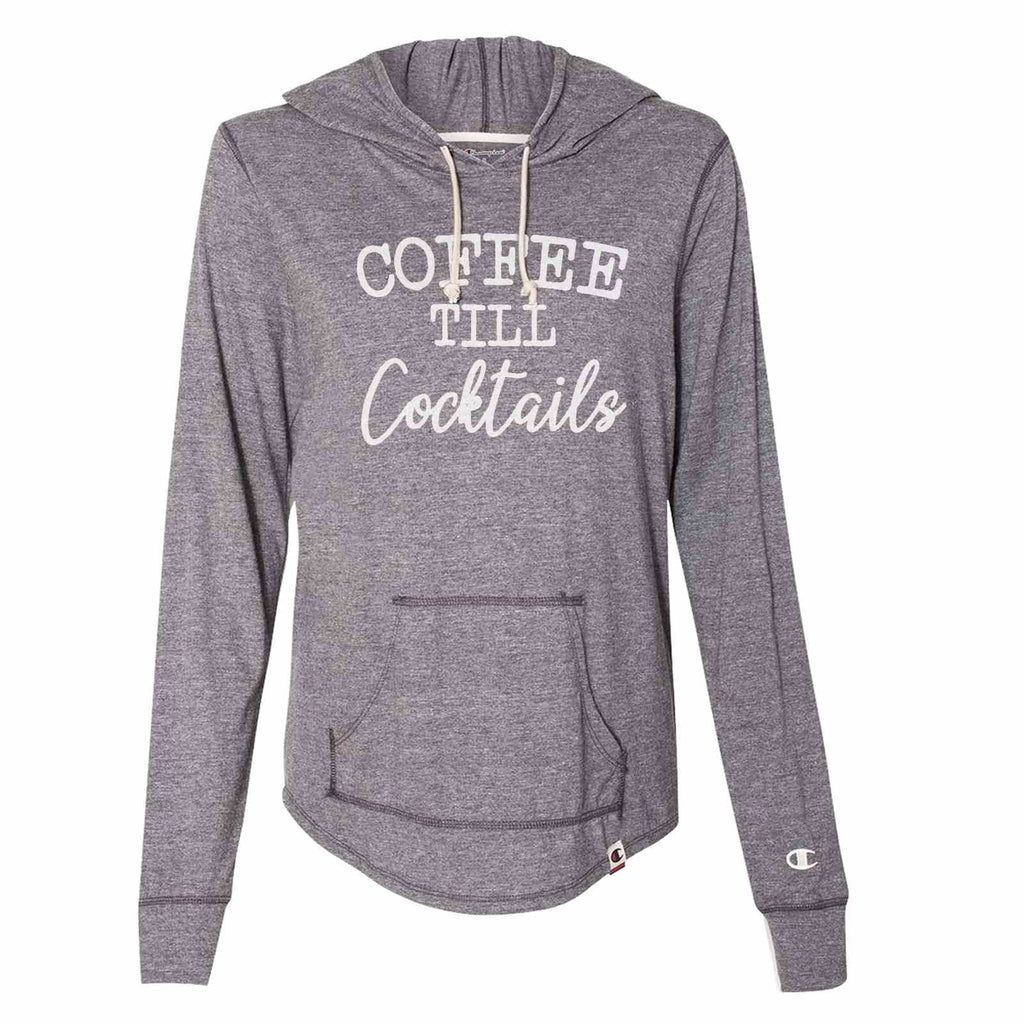 Coffee Till Cocktails - Womens Champion Brand Hoodie - Hooded Sweatshirt Funny Shirt Small / Dark Grey