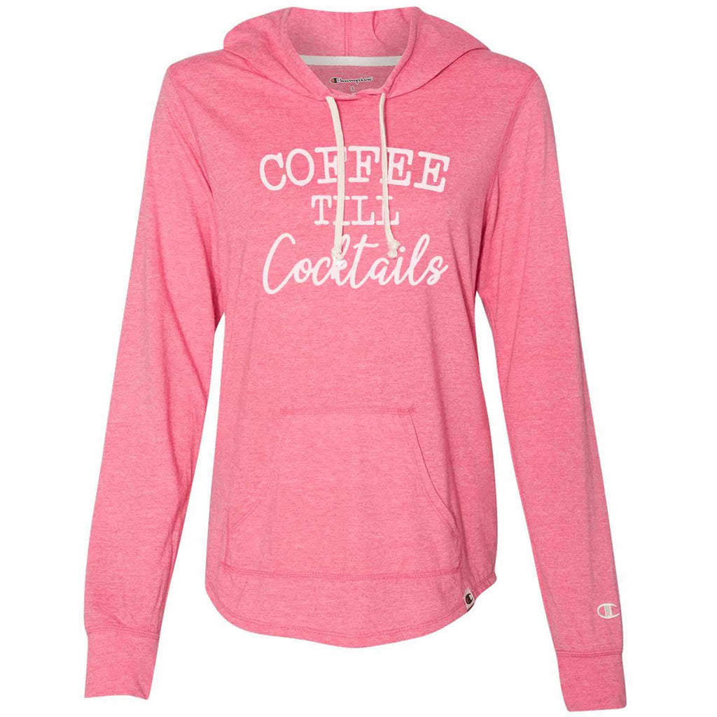 Coffee Till Cocktails - Womens Champion Brand Hoodie - Hooded Sweatshirt Funny Shirt Small / Pink