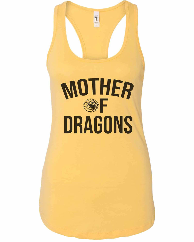 Womens Mother Of Dragons Grapahic Design Fitted Tank Top Funny Shirt Small / Yellow