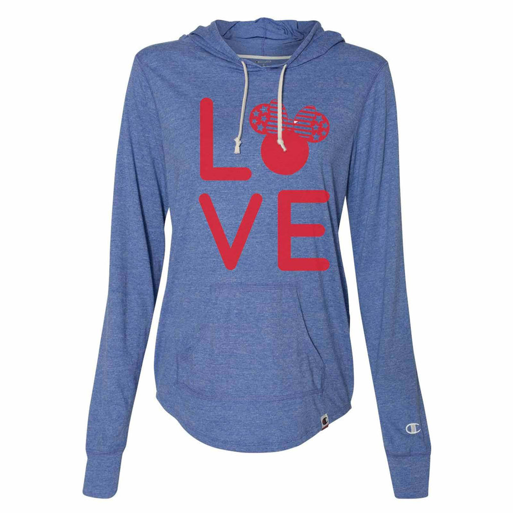 Love Minnie Disney - Womens Champion Brand Hoodie - Hooded Sweatshirt Funny Shirt Small / Blue