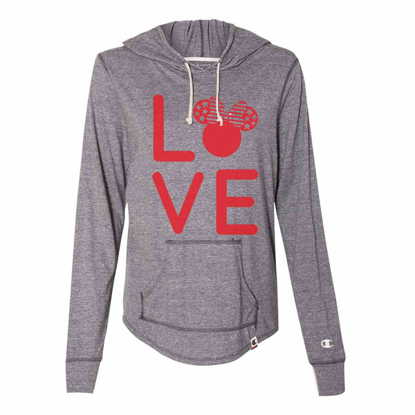 Love Minnie Disney - Womens Champion Brand Hoodie - Hooded Sweatshirt Funny Shirt Small / Dark Grey