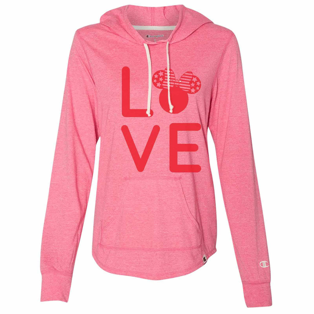 Love Minnie Disney - Womens Champion Brand Hoodie - Hooded Sweatshirt Funny Shirt Small / Pink