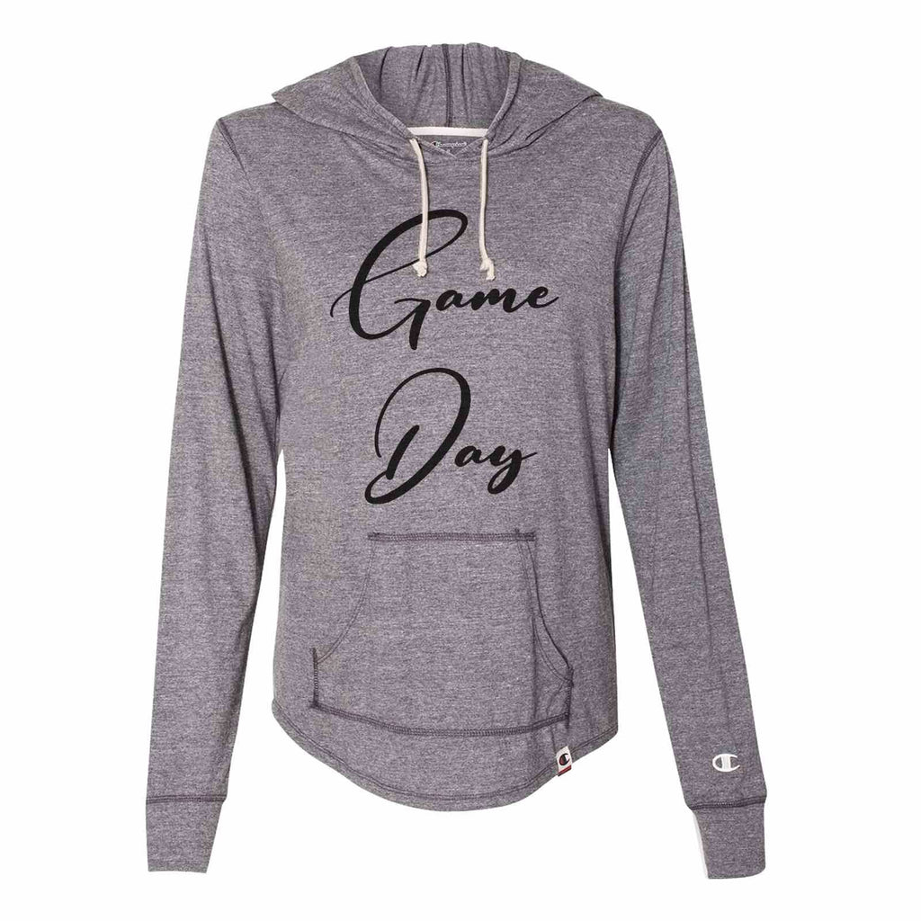 Game Day - Womens Champion Brand Hoodie - Hooded Sweatshirt Funny Shirt Small / Dark Grey