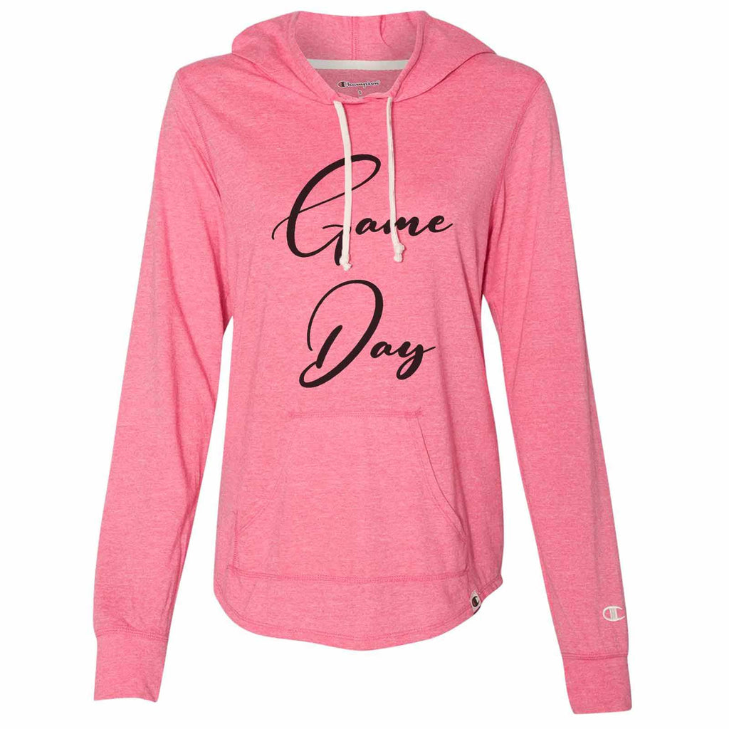 Game Day - Womens Champion Brand Hoodie - Hooded Sweatshirt Funny Shirt Small / Pink