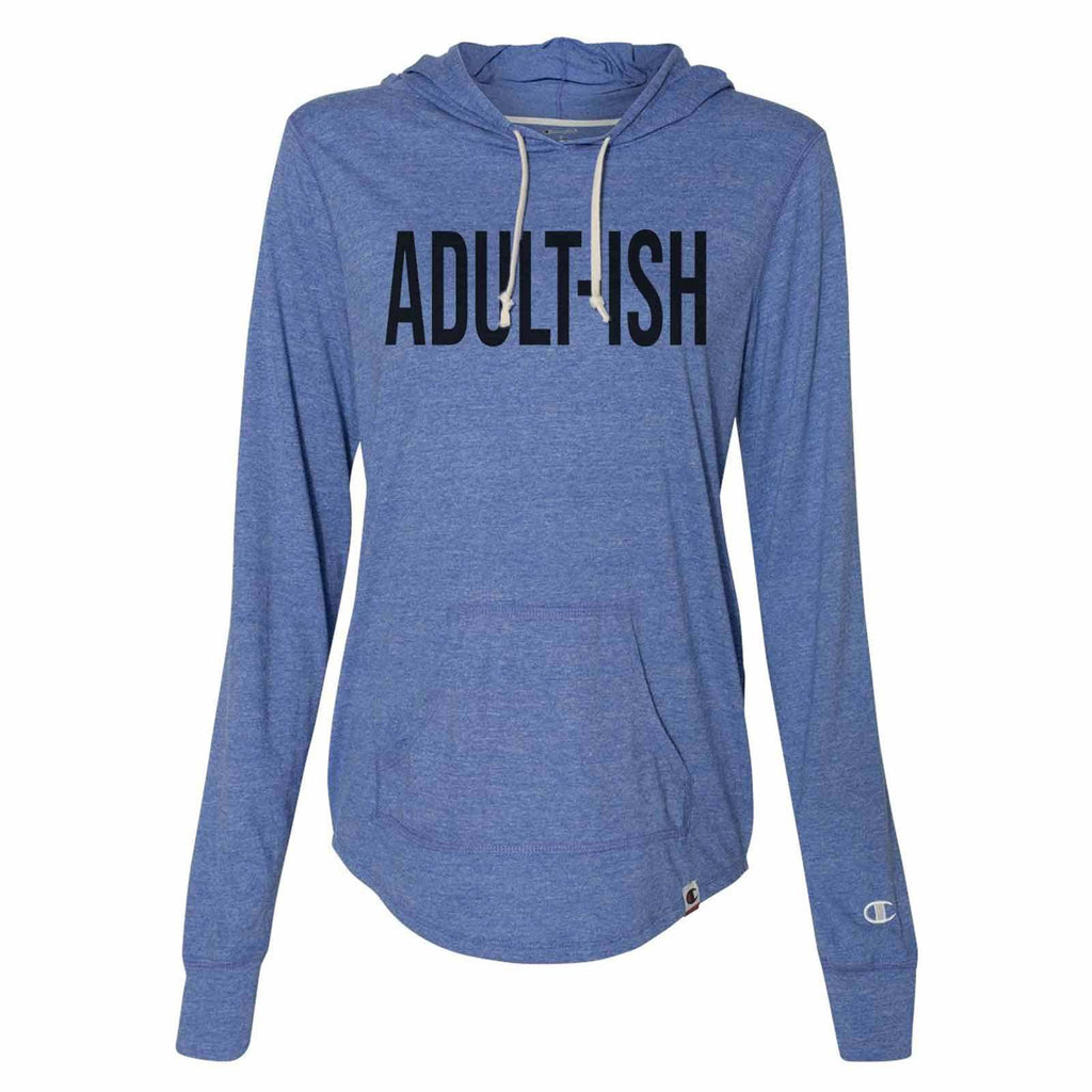 Adult-Ish - Womens Champion Brand Hoodie - Hooded Sweatshirt Funny Shirt Small / Blue