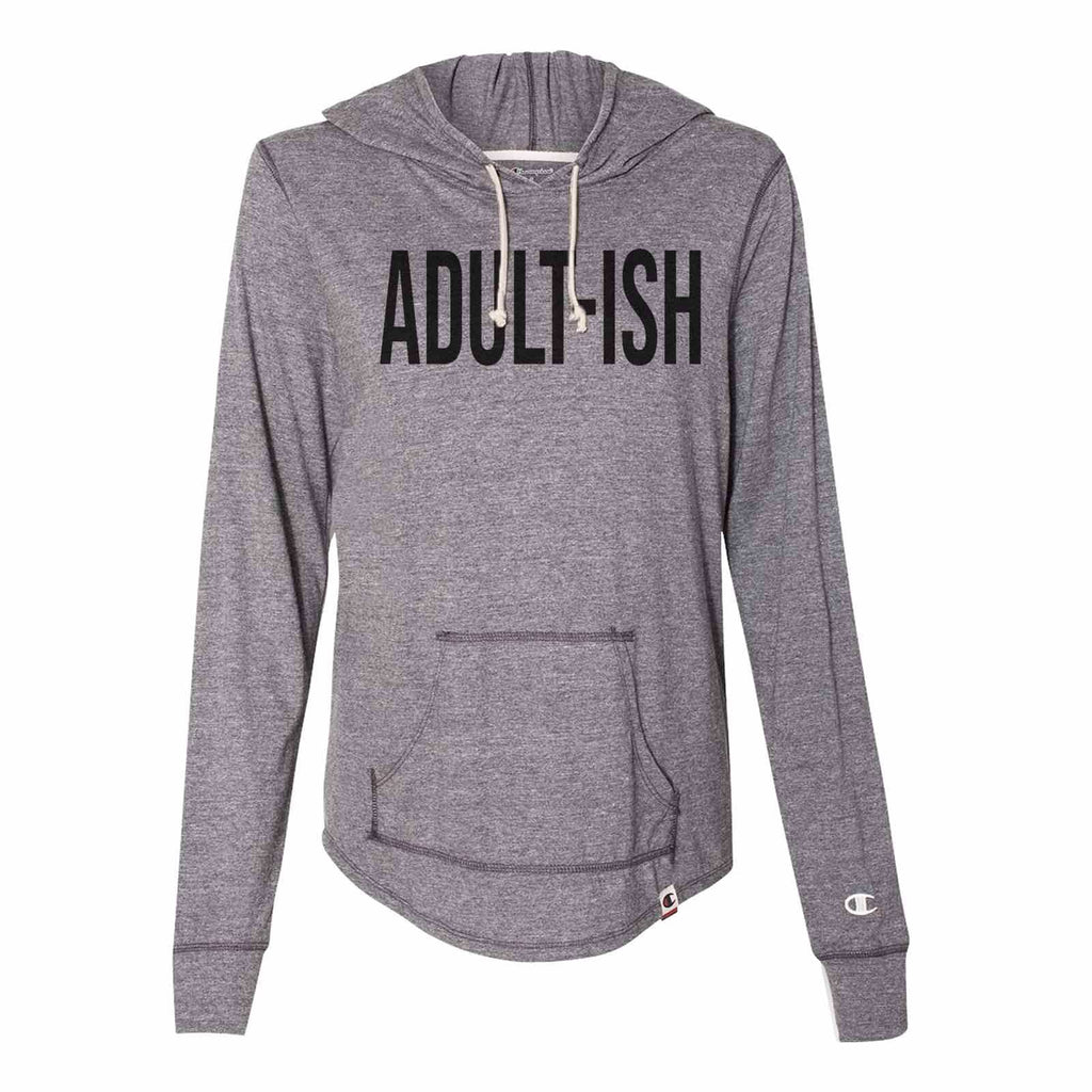 Adult-Ish - Womens Champion Brand Hoodie - Hooded Sweatshirt Funny Shirt Small / Dark Grey
