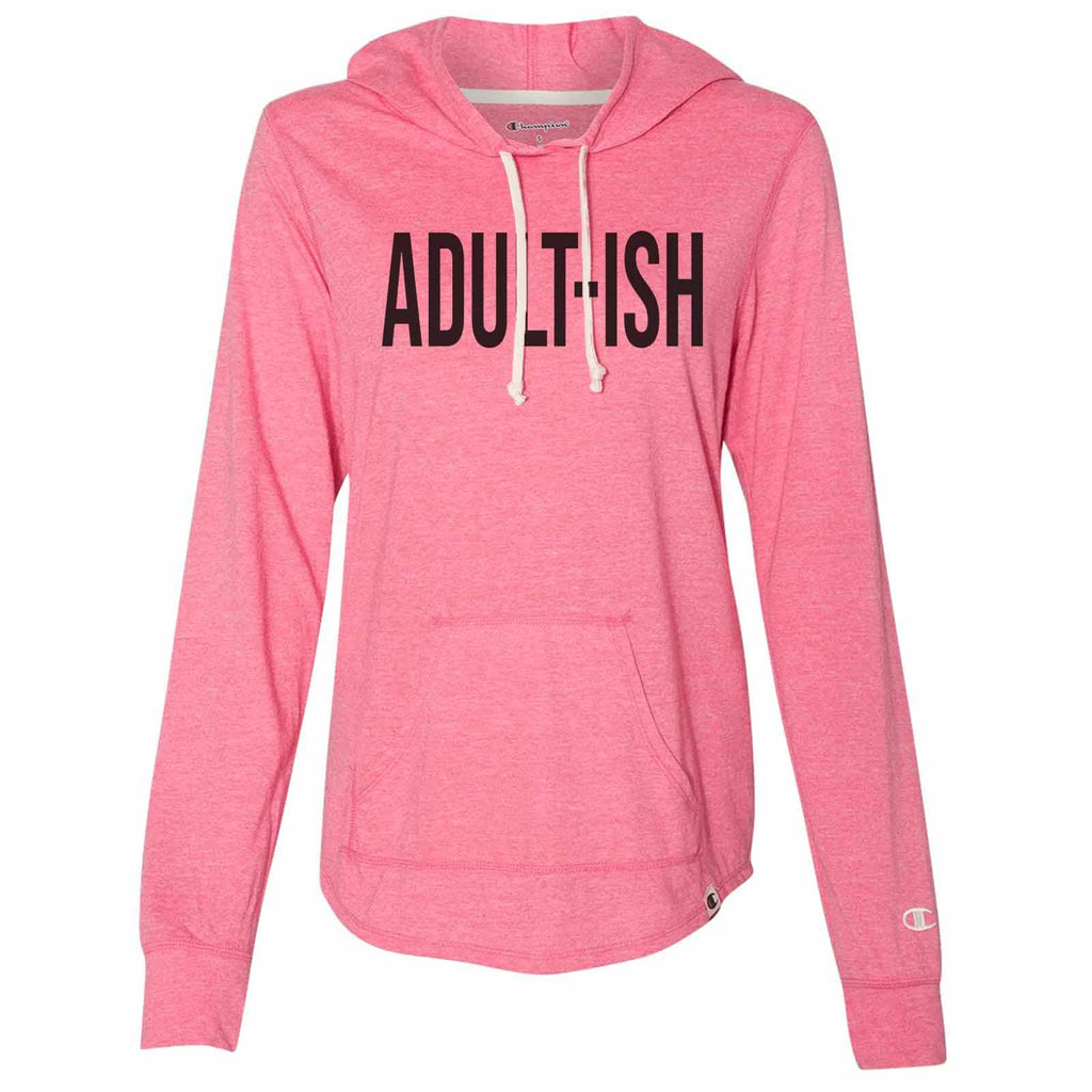 Adult-Ish - Womens Champion Brand Hoodie - Hooded Sweatshirt Funny Shirt Small / Pink