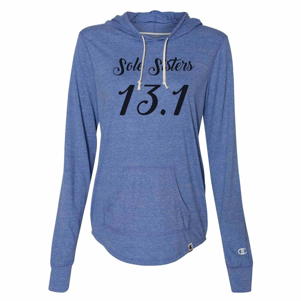 Sole Sisters 13.1 - Womens Champion Brand Hoodie - Hooded Sweatshirt Funny Shirt Small / Blue