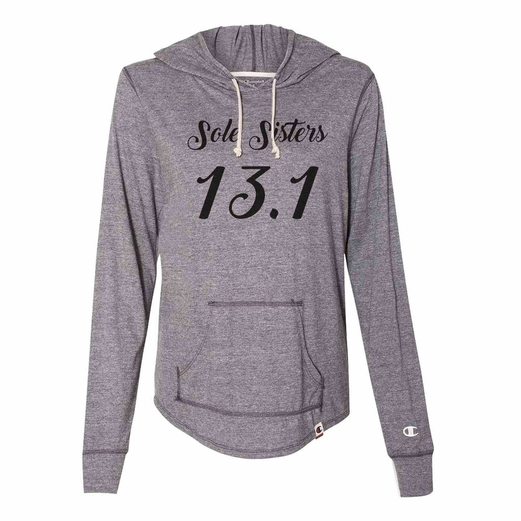 Sole Sisters 13.1 - Womens Champion Brand Hoodie - Hooded Sweatshirt Funny Shirt Small / Dark Grey