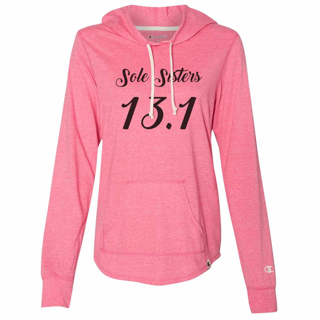 Sole Sisters 13.1 - Womens Champion Brand Hoodie - Hooded Sweatshirt Funny Shirt Small / Pink