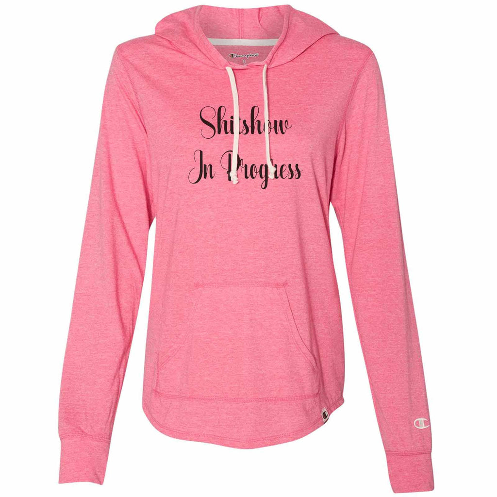 Shitshow In Progress - Womens Champion Brand Hoodie - Hooded Sweatshirt Funny Shirt Small / Pink
