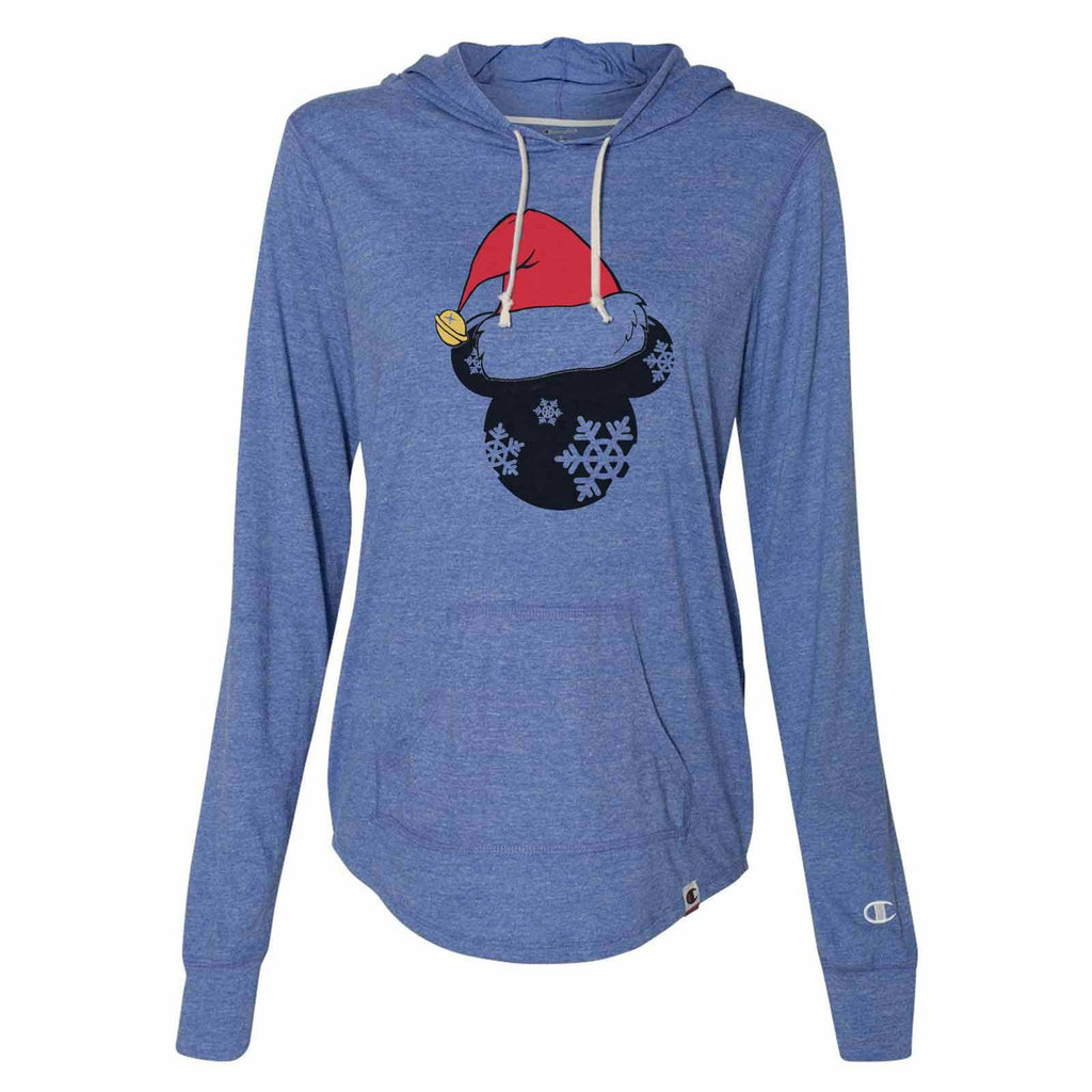 Minnie Minnie Christmas Hat - Womens Champion Brand Hoodie - Hooded Sweatshirt Funny Shirt Small / Blue