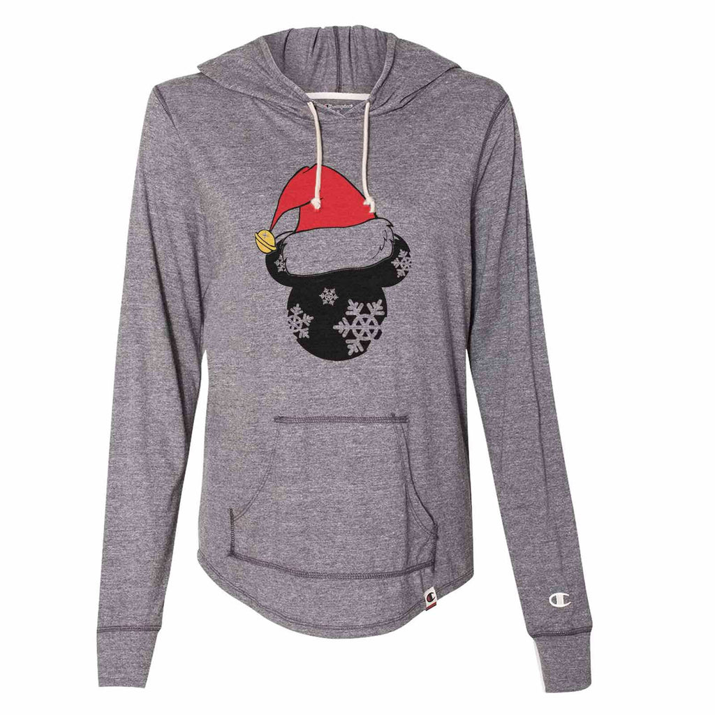 Minnie Minnie Christmas Hat - Womens Champion Brand Hoodie - Hooded Sweatshirt Funny Shirt Small / Dark Grey