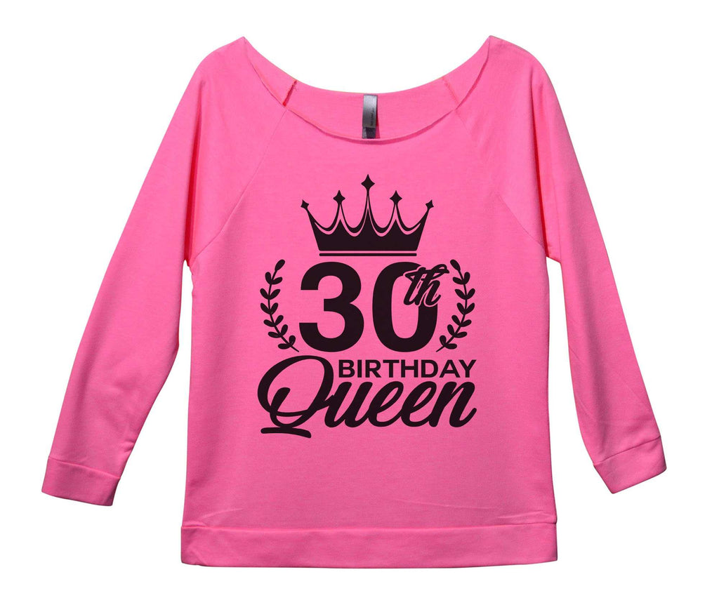 30th birthday Queen Womens 3/4 Long Sleeve Vintage Raw Edge Shirt Funny Shirt Small / Pink