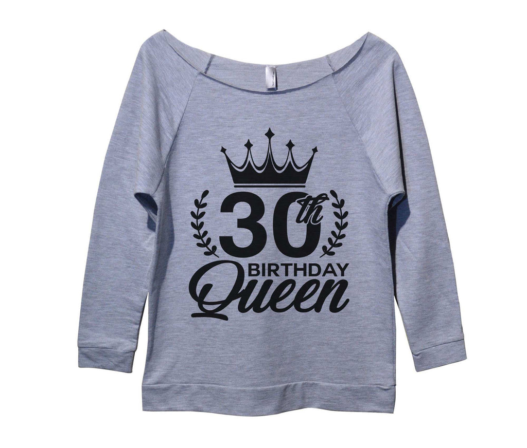 30th birthday Queen Womens 3/4 Long Sleeve Vintage Raw Edge Shirt Funny Shirt Small / Grey