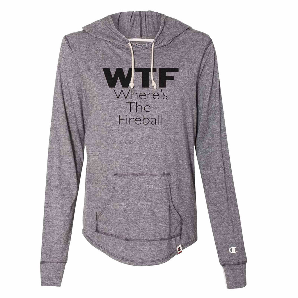 Wtf Where's The Fireball - Womens Champion Brand Hoodie - Hooded Sweatshirt Funny Shirt Small / Dark Grey