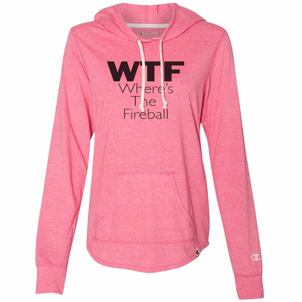 Wtf Where's The Fireball - Womens Champion Brand Hoodie - Hooded Sweatshirt Funny Shirt Small / Pink