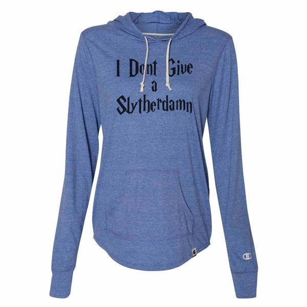 I Dont Give A Slytherdamn - Womens Champion Brand Hoodie - Hooded Sweatshirt Funny Shirt Small / Blue