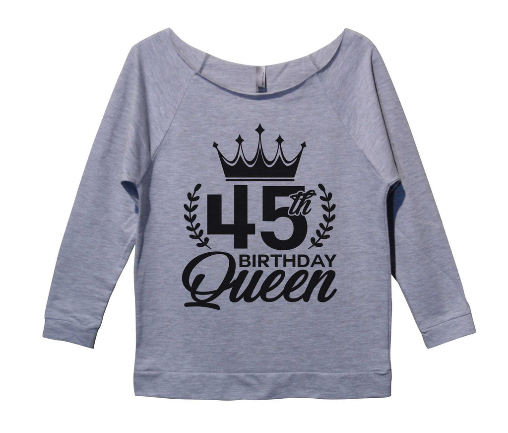 45th birthday Queen Womens 3/4 Long Sleeve Vintage Raw Edge Shirt Funny Shirt Small / Grey
