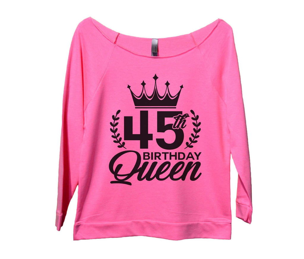 45th birthday Queen Womens 3/4 Long Sleeve Vintage Raw Edge Shirt Funny Shirt Small / Pink