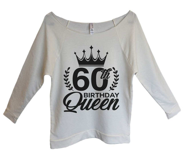 60th birthday Queen Womens 3/4 Long Sleeve Vintage Raw Edge Shirt Funny Shirt Small / Beige