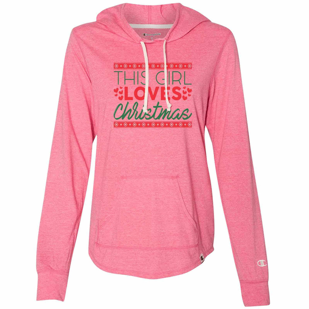 This Girl Loves Christmas - Womens Champion Brand Hoodie - Hooded Sweatshirt Funny Shirt Small / Pink