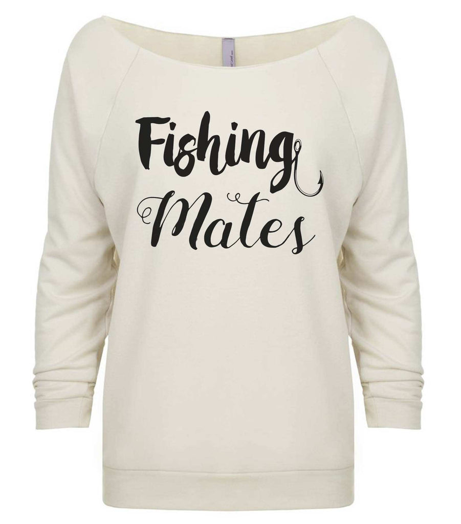 Fishing Mates 3/4 Sleeve Raw Edge French Terry Cut - Dolman Style Very Trendy Funny Shirt Small / Beige