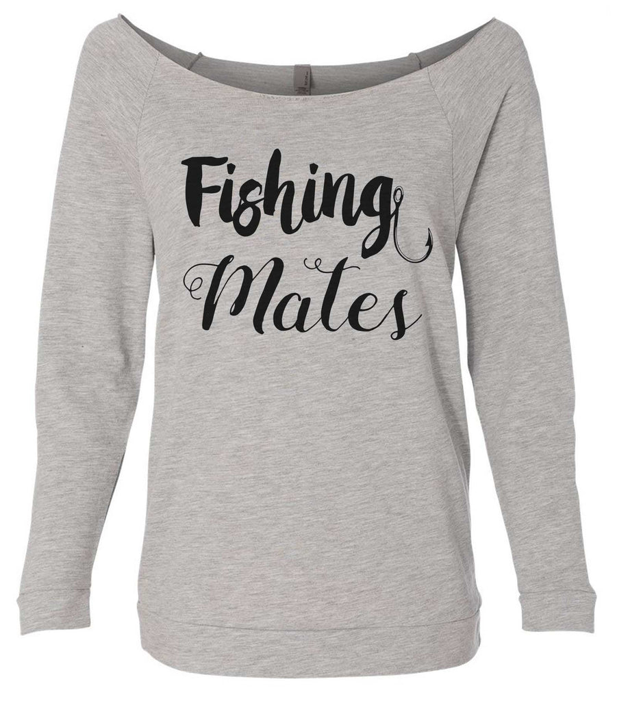 Fishing Mates 3/4 Sleeve Raw Edge French Terry Cut - Dolman Style Very Trendy Funny Shirt Small / Grey