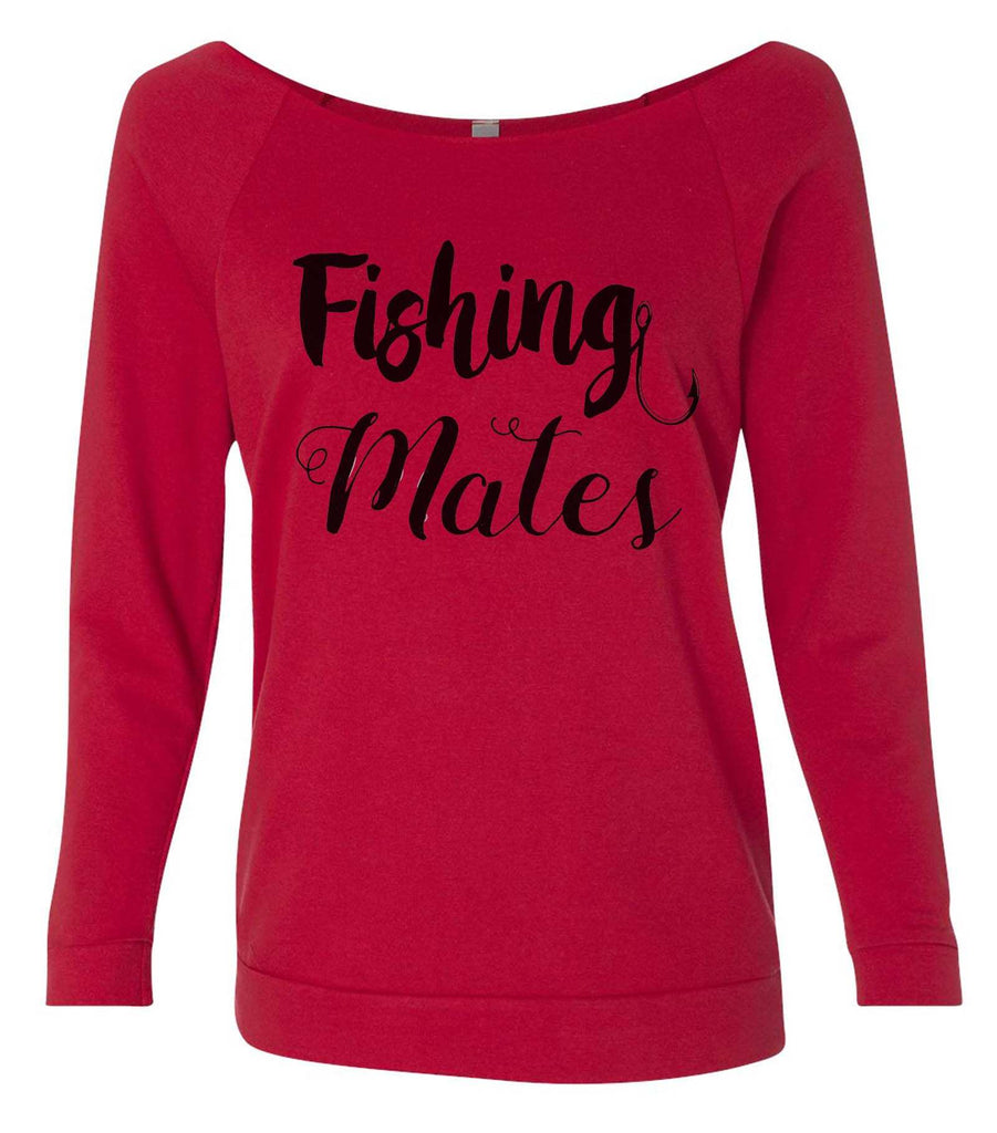Fishing Mates 3/4 Sleeve Raw Edge French Terry Cut - Dolman Style Very Trendy Funny Shirt Small / Red