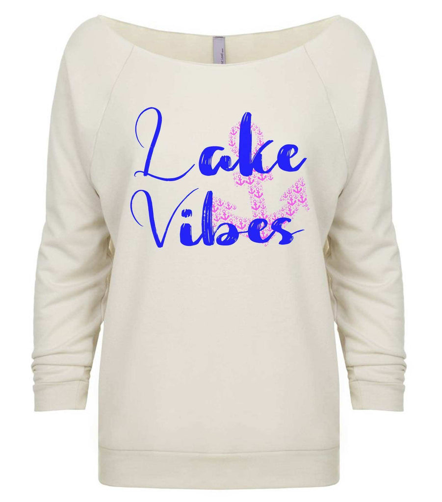 Lake Vibes With Anchor 3/4 Sleeve Raw Edge French Terry Cut - Dolman Style Very Trendy Funny Shirt Small / Beige