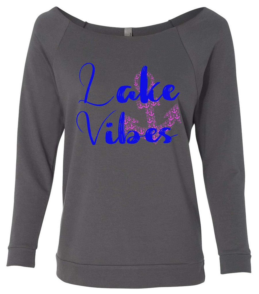 Lake Vibes With Anchor 3/4 Sleeve Raw Edge French Terry Cut - Dolman Style Very Trendy Funny Shirt Small / Charcoal Dark Gray