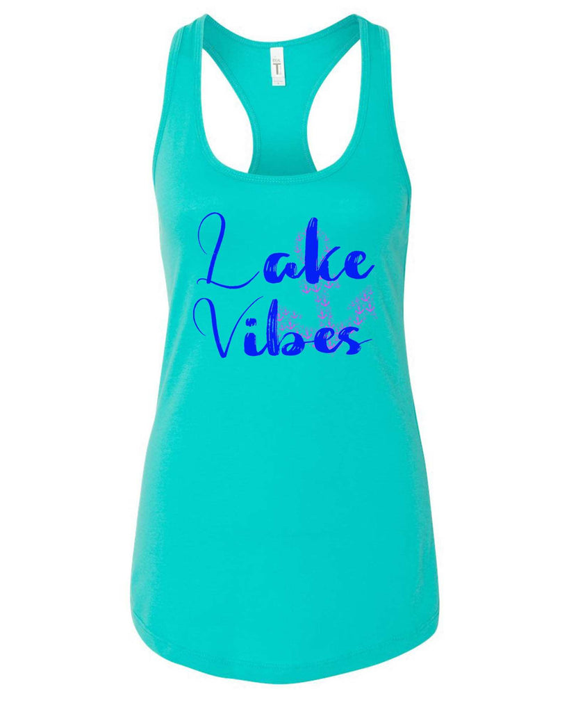 Womens Lake Vibes With Anchor Grapahic Design Fitted Tank Top Funny Shirt Small / Sky Blue