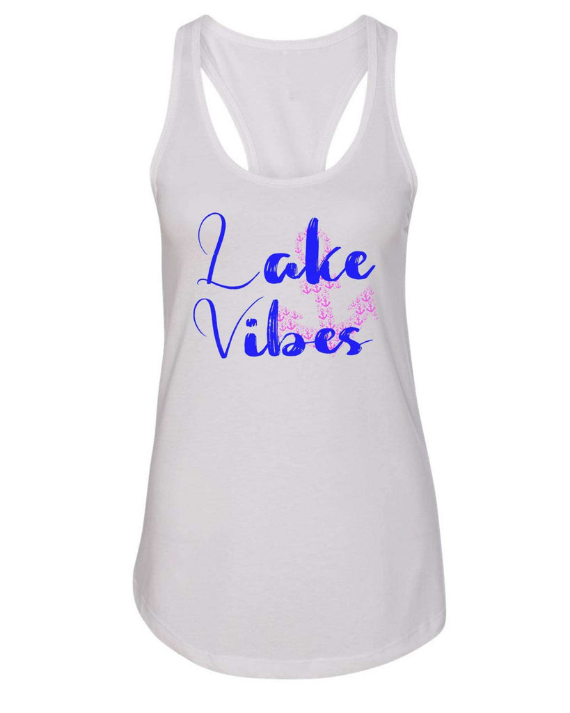 Womens Lake Vibes With Anchor Grapahic Design Fitted Tank Top Funny Shirt Small / White