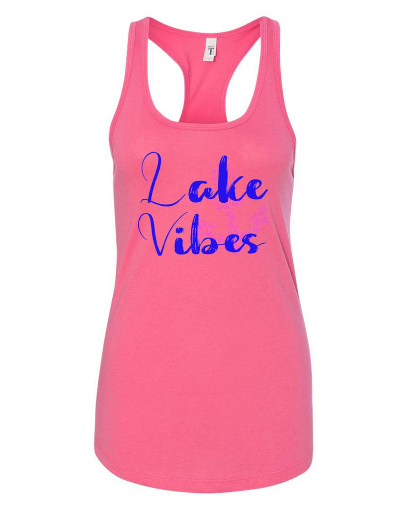 Womens Lake Vibes With Anchor Grapahic Design Fitted Tank Top Funny Shirt Small / Fuchsia