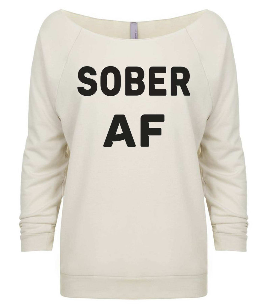 Sober Af 3/4 Sleeve Raw Edge French Terry Cut - Dolman Style Very Trendy