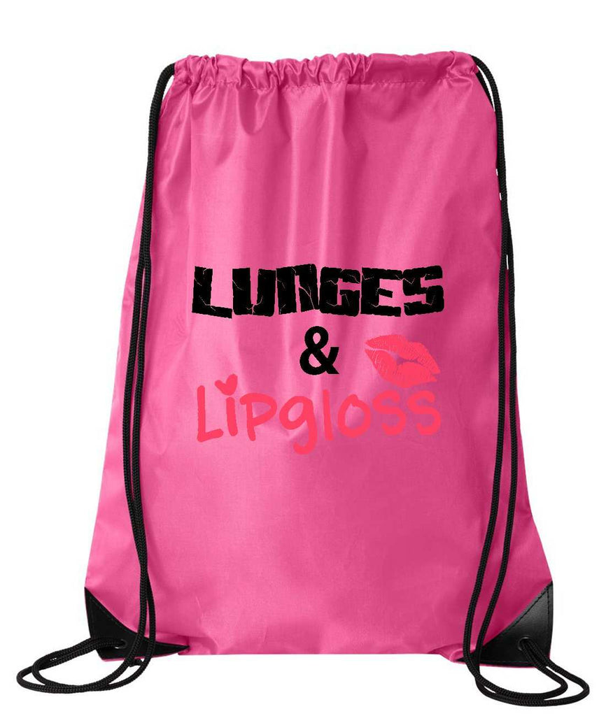 "Drawstring Gym Bag  ""LUNGES & LIPGLOSS""  Funny Workout Squatting Gift Funny Shirt Pink Nylon Bag 14"" x 18"""