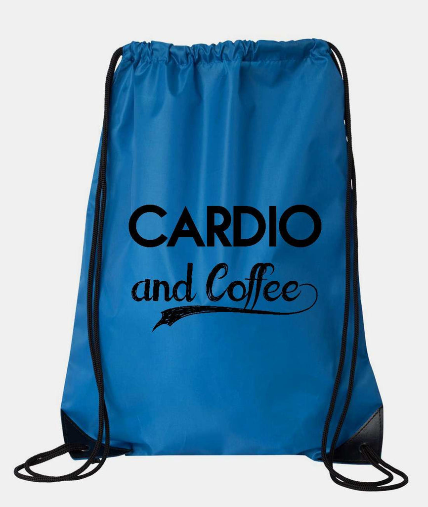 "Drawstring Gym Bag  ""Cardio and Coffee""  Funny Workout Squatting Gift Funny Shirt Blue Nylon Bag 14"" x 18"""
